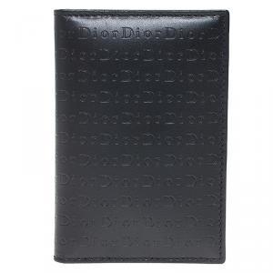 Dior Black Logo Embossed Leather Card Holder
