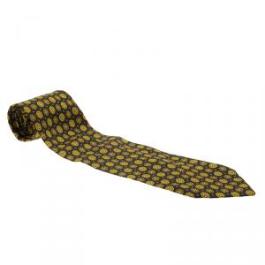 Dior Blue and Yellow Printed Silk Tie