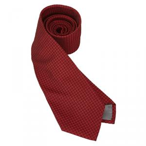 Dior Red Woven Check Silk Tie
