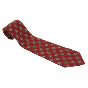Dior Red Hot Air Balloon Printed Silk Traditional Tie