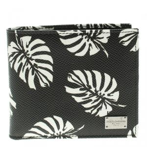 Dolce and Gabbana Black Leaf print Leather Bifold Wallet