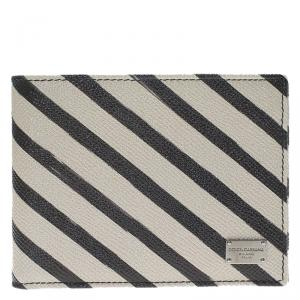Dolce and Gabbana Two Tone Striped Leather Billfold Wallet