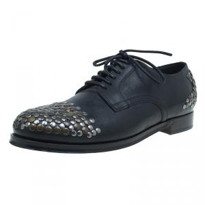 Dolce & Gabbana Black Leather Siracusa Derby Shoes Size 43