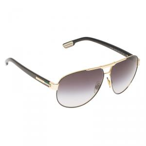Dolce and Gabbana Black and Rose Gold Tone DG2099 Aviator Sunglasses