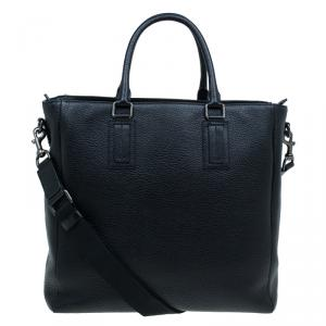 Dolce and Gabbana Black Pebbled Leather Tote Bag
