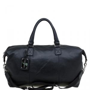 Dolce and Gabbana Black Leather Weekender Luggage Bag