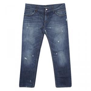 Dolce and Gabbana Indigo Dark Wash Distressed Denim Straight Fit Jeans XL