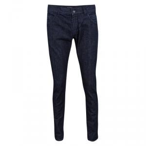 Dolce and Gabbana 14 Gold Indigo Dark Wash Denim Straight Fit Jeans M