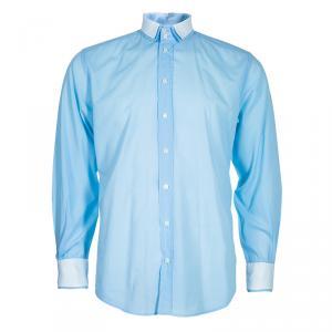 Dolce and Gabbana Men's Light Blue Contrast Collar Shirt M