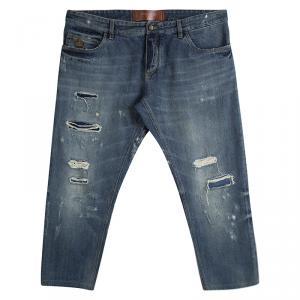 Dolce And Gabbana Indigo Denim Distressed Embroidery Detail Jeans 4XL