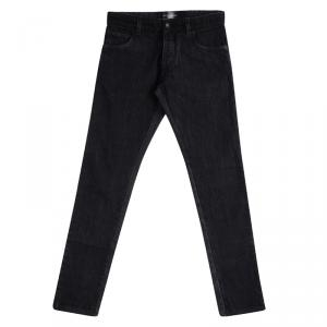 Dolce And Gabbana Black Faded Effect Contrast Trim Detail Straight Fit Jeans S