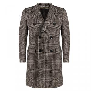 Dolce and Gabbana Multicolor Textured Wool Double Breasted Trench Coat  M