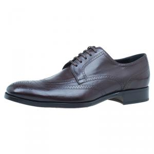 Dolce and Gabbana Brown Brogue Leather Oxfords Size 42
