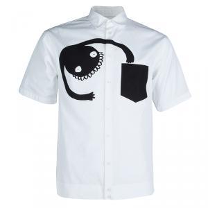 DSquared2 Monochrome Printed Short Sleeve Button Down Cotton Shirt XXL