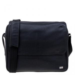Dunhill Black Pebbled Leather Flap Messenger Bag