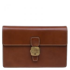 Dunhill Brown Leather Vintage Clutch Bag