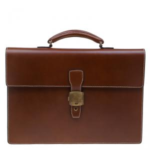 Dunhill Tan Leather Vintage Document Briefcase
