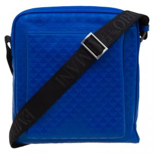 Emporio Armani Blue Leather Medium Messenger Bag