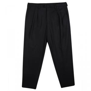 Emporio Armani Black Felt Zip Detail Pleated Trousers XXL