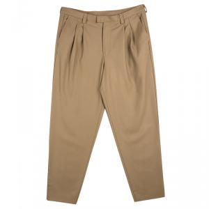 Emporio Armani Beige Felt Pleated Trousers XXL