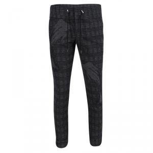 Emporio Armani Grey Checked Brushed Wool Jogger Pants M