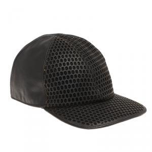 Emporio Armani Black Perforated Leather Baseball Cap L