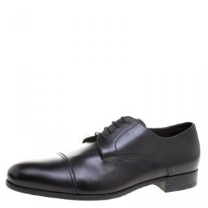 Ermenegildo Zegna Black Leather Lace Up Derby Size 45