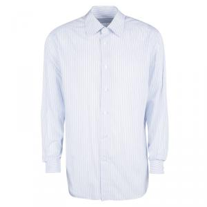Ermenegildo Zegna Blue and White Striped Cotton Long Sleeve Shirt  3XL