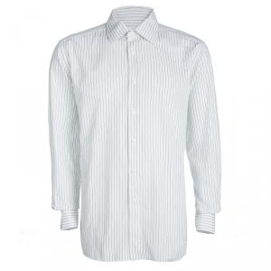 Ermenegildo Zegna White Striped Cotton Regular Fit Button Front Shirt XXXL