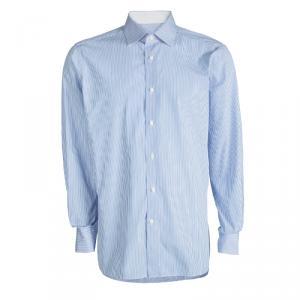 Ermenegildo Zegna Blue and White Striped Cotton Slim Fit Shirt 4XL