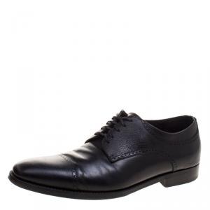 Ermenegildo Zegna Black Leather Lace Up Derby Oxfords Size 43.5