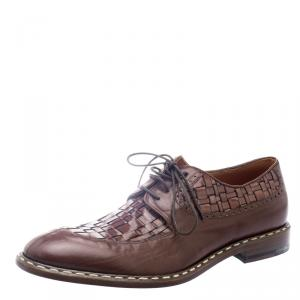 Etro Brown Leather Woven Detail Oxfords Size 41