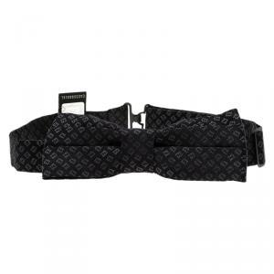 Fendi Black Silk FF Logo Bow Tie