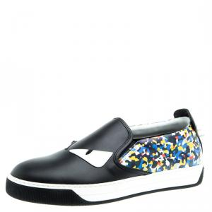 Fendi Black Studded Printed Leather Monster Slip On Sneakers Size 42