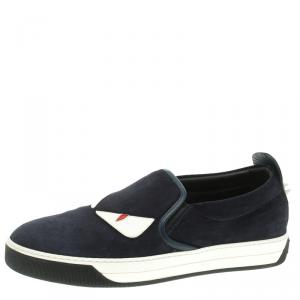 Fendi Navy Blue Suede Monster Slip On Sneakers Size 42