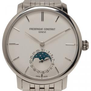 Frederique Constant White Stainless Steel Slimline Men's Wristwatch 41MM