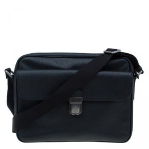 Giorgio Armani Black Saffiano and Perforated Leather Messenger Bag