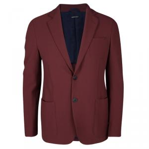 Giorgio Armani Maroon Textured Wool Upton Blazer L