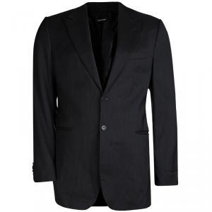 Giorgio Armani Grey Striped Wool Blazer L