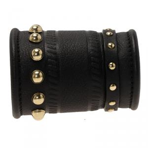 Givenchy Gold Tone Studs Embossed Black Leather Extra Wide Cuff Bracelet