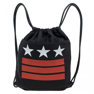 Givenchy Black Nylon Stars Stripes Drawstring Backpack