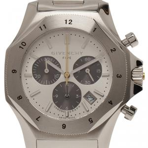 Givenchy Silver Stainless Steel Five Chronograph Men's Wristwatch 45MM