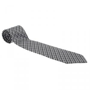 Gucci Black Grey Monochrome Micro-Check Woven Silk Tie