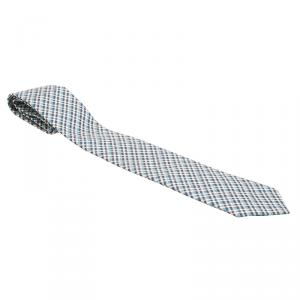 Gucci Blue Check Woven Textured Silk Tie