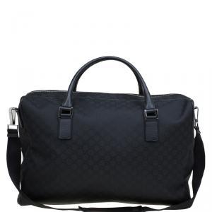 Gucci Black GG Nylon Weekender Travel Bag