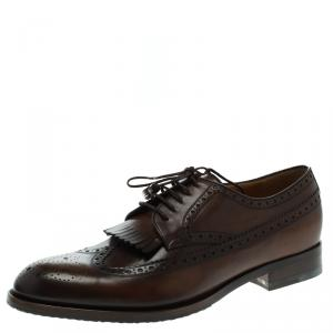 Gucci Brown Brogue Leather Fringe Derby Size 44