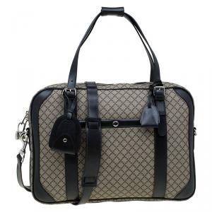 Gucci Black/Beige Diamante Canvas Briefcase Bag