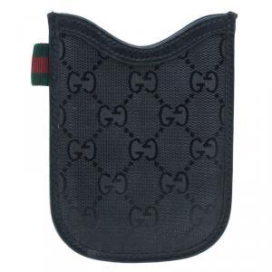 Gucci Black Guccissima Canvas and Leather Blackberry Case