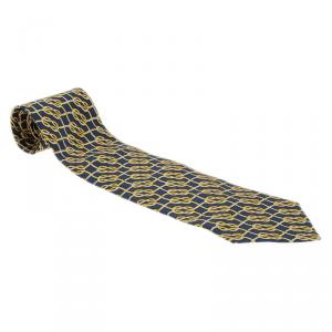 Gucci Navy Blue Silk Rope Print Tie