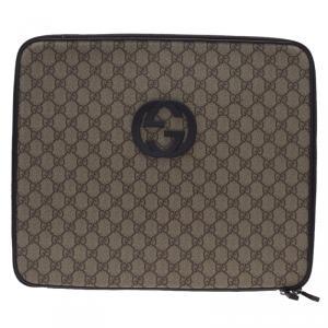 Gucci Brown Guccissima Canvas and Leather Interlocking GG Logo Laptop Case
